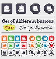 School Backpack icon sign Big set of colorful vector image