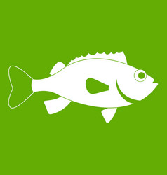 Sea bass fish icon green vector