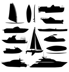 Sea ship silhouettes boats adapted to the open vector