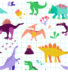 seamless cartoon dinosaurs pattern baby background vector image