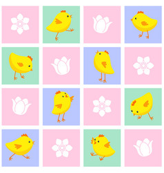 seamless eastern pattern with chickens and flowers vector image