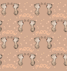 Seamless pattern with cute grey mewing cats vector