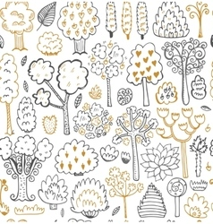 Seamless sketch pattern with trees vector