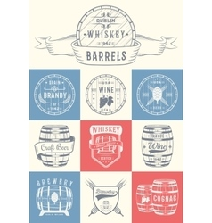 Set of Cask Alcohol Emblems vector image