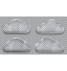 Set of transparent glass clouds vector image