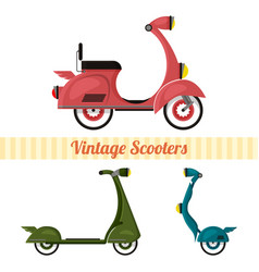 Set of vintage scooters in retro style vector