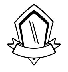 Shield premium ribbon template outline empty vector