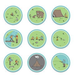 Signs about camping theme bears tent vector