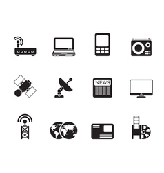 Silhouette technology communications icons vector image