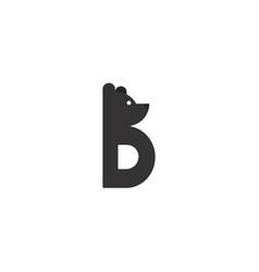Simple letter b bear logo icon vector