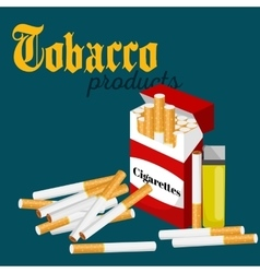 Smoking tobacco cigarette with filter in red box vector