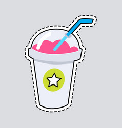 Smoothie in closed cup with straw cut it out vector