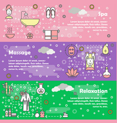 spa and beauty concept flat line art banner vector image