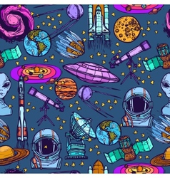 Space sketch seamless pattern vector image