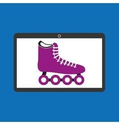 Sport laptop app concept roller skate vector