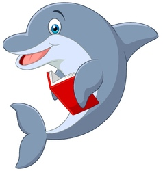 Standing little Dolphin holding book vector