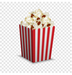 stripped popcorn box mockup realistic style vector image