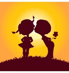 sunset silhouettes kissing boy and girl vector image