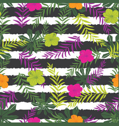 tropical flowers and fern leaves on stripes vector image