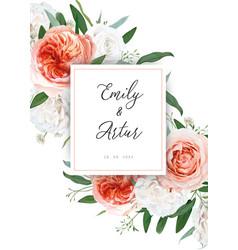 Wedding floral invite card design ivory peach rose vector