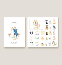 Wedding invitation cards bride and groom with dog vector