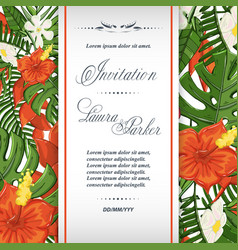 wedding invitation template with tropical flowers vector image