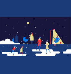 winter park - flat design style colorful vector image