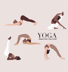 yoga diversity woman fitness class woman cartoon vector image