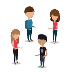 young people standing icon vector image