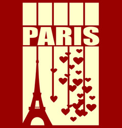 eiffel tower paris striped backdrop with hearts vector image vector image