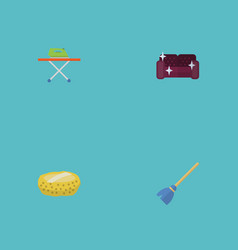 Flat icons sofa besom sponge and other vector