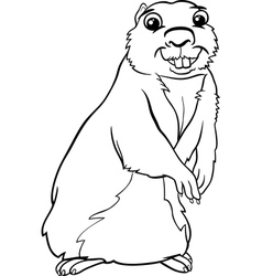 gopher animal cartoon coloring page vector image vector image
