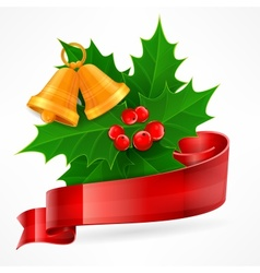 Holly berry branch on white vector image vector image