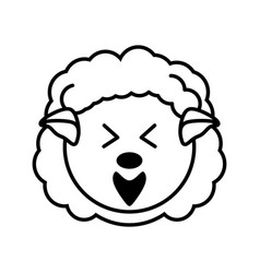 outline sheep head animal vector image vector image