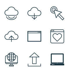 set of 9 internet icons includes program data vector image vector image