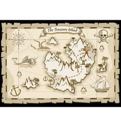 Treasure pirate hand drawn map vector image vector image
