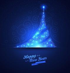 Xmas tree glowing background vector image