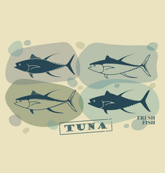 fish tuna stylized icons vector image