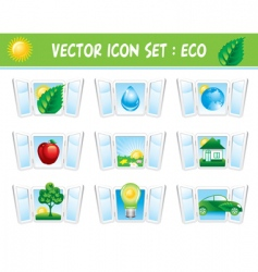 set ecology icons vector image vector image
