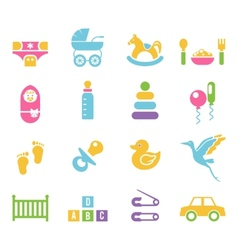 Simple Children Toys and Accessories Icons vector image