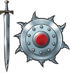sword and shield vector image vector image