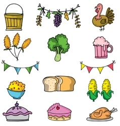 Doodle of food thanksgiving set vector image