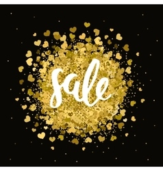 gold sale label with handdrawn lettering vector image vector image