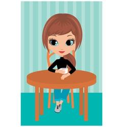 pretty girl drinks coffee vector image vector image