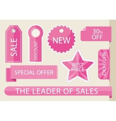 Set tags with ribbons and labels vector image