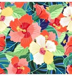 tropical colorful hibiscus pattern vector image