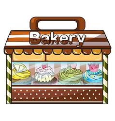 A bakery selling baked goodies and cakes vector image vector image