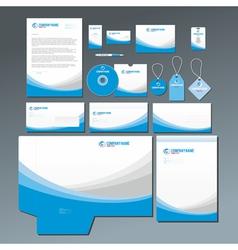 Blue stationery set vector image