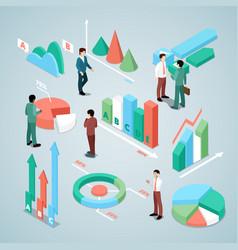 businessman with statistics finance analysis vector image