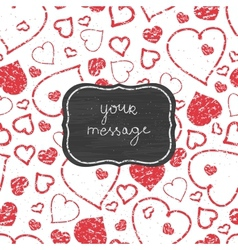 Chalkboard red art hearts frame seamless pattern vector image